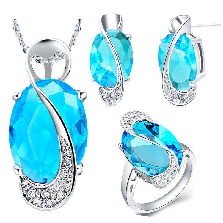 60%off моды сапфир ювелирные украшения для женщины свадебный серебра 925 кристалл ожерелье серьги свадебный комплект